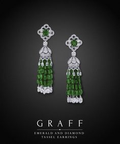 Graff Diamonds: Emerald and Diamond Tassel Earrings