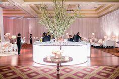 Christina & Anthony | Florals & Decor: Royal Orchid Florist | Pink Decor, Circular Bar