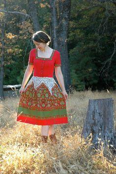 Vintage Dirndl... Traditional Austrian Folk Dress... 1960s Cotton Dirndl... CHRISTMAS in AUSTRIA (s). $88.00, via Etsy.