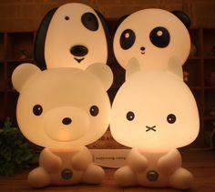 Mesa de Luces de La Noche Del Sitio Del Bebé de la Panda/Conejo/Perro/Oso de Dibujos Animados Luz de La Noche de Cama Para Niños Lámpara de Noche Durmiendo lámpara de Mesa Con Lámpara