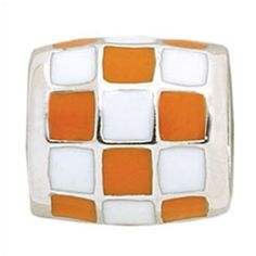 Orange and white checkerboard bead for Tennessee Vols Pandora bracelet!