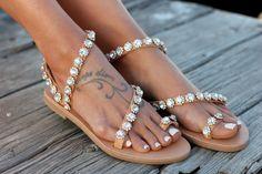 Handmade Sandals Wedding Sandals Greek Leather by DimitrasWorkshop