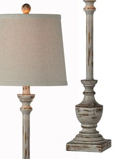 Choosing the perfect lamp for your home can be difficult because there is such a variety of lamps to pick from. Discover the most suitable living room lamp, bed room lamp, table lamp or any other type for your specific room. Rustic Buffet, Farmhouse Buffet, Antique Farmhouse, Farmhouse Decor, Sideboard Table, Buffet Table Lamps, Lamp Table, Sofa Tables, Shabby Chic Lamps