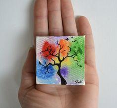 "Tiny art, Miniature, Rainbow, tree, birds, Miniature Original Painting, zen, chakra, Dollhouse Art, American Girl Doll, 2"" by sheriwiseman on Etsy"