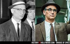 Soviet spy Rudolf Abel and actor Mark Rylance who portrays Abel in the Bridge of Spies movie. See more pics at http://www.historyvshollywood.com/reelfaces/bridge-of-spies/