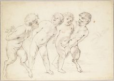 """Workshop of Carlo Cignani (1628-1719), Two Boys with Two Satyrs (Study for """"The Triumph of Venus""""), c. 1678-1679 