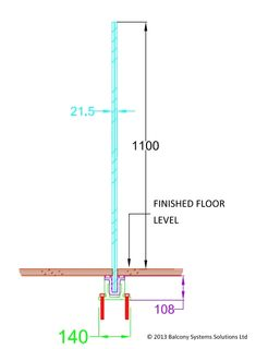 fully frameless glass balustrade section