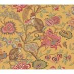 The Wallpaper Company 56 sq. ft. Yellow Earth Tone Eastern Plants and Monkeys Wallpaper - at The Home Depot
