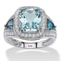 PalmBeach Platinum over Sterling Silver 4 1/3ct Cushion-cut Sky and London Blue Topaz Cubic Zirconia Halo Ring | Overstock.com Shopping - The Best Deals on Gemstone Rings