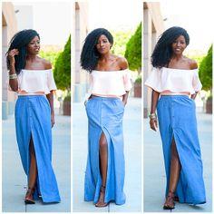 Swing Blouse + Chambray Maxi Skirt