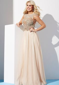 Flowy chiffon dress features beaded bodice with cap sleeves and sheer back 22037