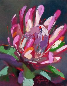 Protea Art, Abstract Flower Art, Australian Native Flowers, Guache, Arte Popular, Arte Floral, Botanical Art, Painting Inspiration, Painting & Drawing