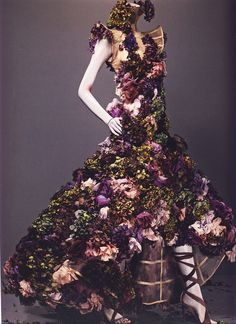 "Alexander McQueen Spring/Summer 2007 - Savage Beauty © Sølve Sundsbø    'Sarabande' - Nude silk embroidered with silk flowers and fresh flowers    ""Remember Sam Taylor-Wood's dying fruit? Things rot... I used flowers because they die. My mood was darkly romantic at the time."""