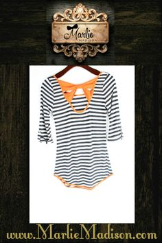 The Kelly Tee - A different version of the bow back! Comes in 2 colors. http://www.marliemadison.com/tops