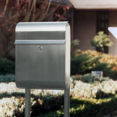 European Home | Stainless Steel Modern, Contemporary Antares Galaxy Mailbox and Mailbox Stand | Residential Mailbox