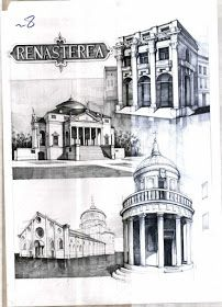 Istorie – Page 2 – Vlad Bucur Famous Architectural Buildings, Famous Buildings, Sketchbook Architecture, Study Architecture, Building Drawing, Building Sketch, City Drawing, Steel Frame, Technical Drawing