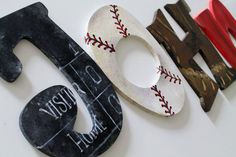 Vintage Sports Themed Nursery | Vintage Varsity Sports Themed Hand Painted Personalized Wooden Letters ...