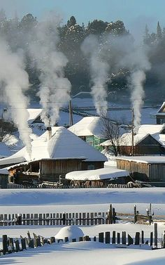 Winter in the Carpathian mountains, W Ukraine