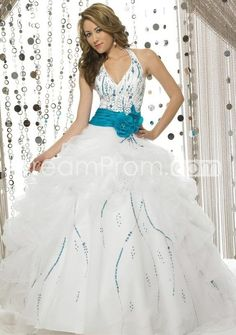 Charming V-neck Strapless Organza White with Blue Ball Gown (3AE0005)