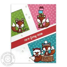 Sunny Studio: Introducing Foxy Christmas & Here Comes Santa stamps with Rustic Winter dies. Winter Cards, Holiday Cards, Christmas Cards, Fox Images, Neat And Tangled, Sunnies Studios, Studio Cards, Card Patterns, Animal Cards