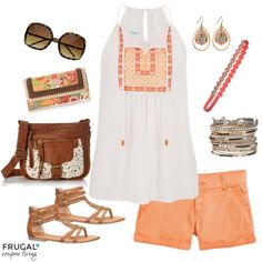 Frugal Fashion Friday Melon Summer Outfit on Frugal Coupon Living. Peasant Top with Gladiator Shoes, Crossbody Bag and More.