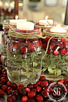 BETTER LATE THAN NEVER-MASON JARS IN TEA LIGHTS-greens and cranberries-stonegableblog.com