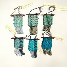 Blue Handwoven Wee Tapestry / Mini Woven Wall by pidgepidge