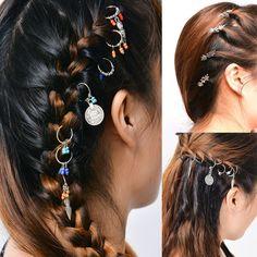 Buy Fashion Hair Accessories Metal Leaf Star Hair Clips For Women Punk Hairclip Charm Jewelry Hair Scrunchies Girls Hair Decoration Braided Dreadlocks, Dreadlock Beads, Locs, Mode Punk, Hair Cuffs, Gothic, Barrettes, Hair Scrunchies, Diy Braids