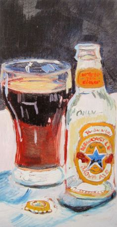 Beer Art Print of NEW CASTLE BROWN Ale  Limited by RealArtIsBetter, $35.00