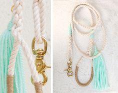 Wedding Dog Leash / Mint & Gold / Nautical by theAtlanticOcean