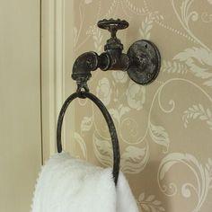 Rustic Industrial Tap Towel Holder More