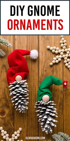 These pinecone gnomes are so easy to make! And guess what, no sewing required. Handmade Christmas Tree, Homemade Christmas, Simple Christmas, Christmas Crafts, Gnome Ornaments, Christmas Tree Ornaments, Christmas Decorations, Xmas Gifts, Homemade Gifts