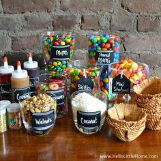 This Candy-Covered DIY Ice Cream Sundae Bar is an easy way to create summer time fun! Hello Little Home Looking for the ultimate party idea? Set up an amazing + delicious DIY Ice Cream Sundae Bar . it's easy with these tips! Diy Ice Cream, Ice Cream Bowl, Ice Cream Buffet, Ice Cream Sundaes, Ice Cream Wedding, Toppings For Ice Cream, Comida Picnic, Sleepover Birthday Parties, Birthday Ideas