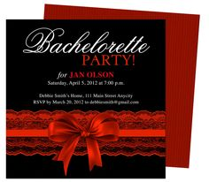Bachelorette Party Invitations Templates : Scarlet Red Garter Bachelorette Party Invitation Template