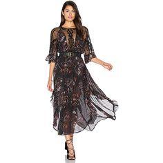Free People Spirit of the Wild Dress ($255) ❤ liked on Polyvore featuring dresses, beaded dress, beaded sleeve dress, sheer mesh dress, key hole dress and yoke dress