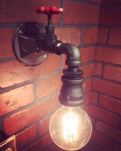 Steampunk Industrial Wall Sconce Light with operational valve Switch rustic pipe
