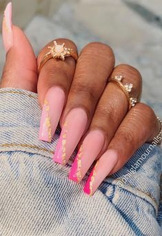 Gold Acrylic Nails, Long Square Acrylic Nails, Acrylic Nails Coffin Short, Summer Acrylic Nails, Pink Acrylic Nail Designs, Colourful Acrylic Nails, Hot Nail Designs, Pink Acrylics, Art Designs