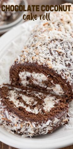 A Chocolate Coconut Cake Roll is easier to make than you think! Chocolate cake is filled with Nutella and coconut whipped cream and then topped with chocolate ganache and more coconut. The perfect des (Coconut Dessert Recipes) Cake Roll Recipes, Dessert Recipes, Pie Dessert, Chocolate Roll Cake, Chocolate Ganache, Chocolate Cake Fillings, Coconut Chocolate, Coconut Whipped Cream, Toasted Coconut