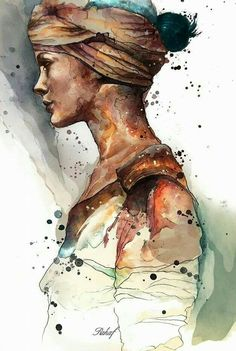 Illustration and Drawing by Syrian Artist Rahaf Dk Albab Art And Illustration, Portrait Illustration, Watercolour Illustration, Illustration Fashion, Art Illustrations, Portraits Illustrés, L'art Du Portrait, Woman Portrait, Female Portrait