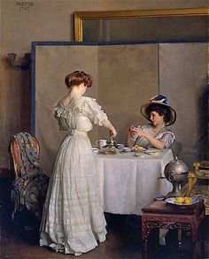 William McGregor Paxton (American, Baltimore, Maryland Boston, Massachusetts ) Tea Leaves 1909 Oil on canvas, x cm (c) The Metropolitan Museum of Art Victorian Tea Party, Victorian Art, Fine Art, Beautiful Paintings, Oeuvre D'art, Metropolitan Museum, Impressionist, Art History, Art Museum