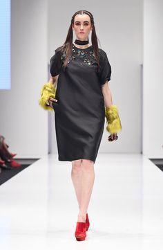 Puffy sleeves a-line dress accessorized with fur cuffs and choker.  #melindalooi #MelindaLooiAW16 #AutumnWinter16 #readytowear #AW16 #FW16 #fashion #style #KLFW #fashionshow #runway #prints #embellishments #puffy #aline #dress #fur #cuffs #choker