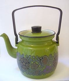 Arabia Finel Finland Primavera green enamel kettle, teapot Kaj Franck - Scarce! in Collectables | eBay
