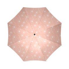 Peach Pink Flower White Outline Design, Floral Pattern Foldable Umbrella