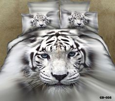 3D White tiger animal print cotton bedding  sets king queen size duvet cover bedspread bed in a bag fitted sheets home