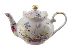 Porcelain Butterfly Discount Teapot - Discount Teapots - Roses And Teacups