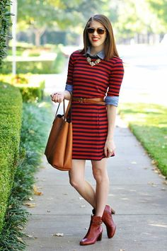 button down shirt and striped dress
