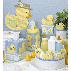 Make a splash with yellow rubber duckie designs. Ducks for the Nursery Plastic Canvas PATTER. Used Plastic Canvas PATTERN by Leisure Arts. Plastic Canvas Tissue Boxes, Plastic Canvas Crafts, Plastic Canvas Patterns, Nursery Patterns, Craft Patterns, Baby Patterns, Duck Nursery, Nursery Sets, Nursery Canvas