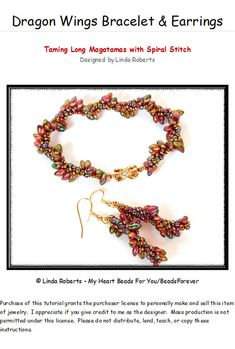 *P Beading Tutorial - Dragon Wings Bracelet and Earrings Pattern