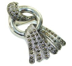 Lovely Lady Marcasite Sterling Silver Pendant / Brooch