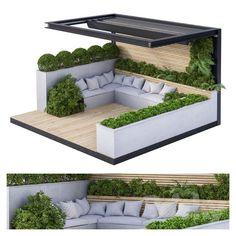 Backyard Seating, Backyard Patio Designs, Modern Backyard, Small Backyard Landscaping, Pergola Patio, Pergola With Roof, Modern Gazebo, Rooftop Terrace, Patio Roof